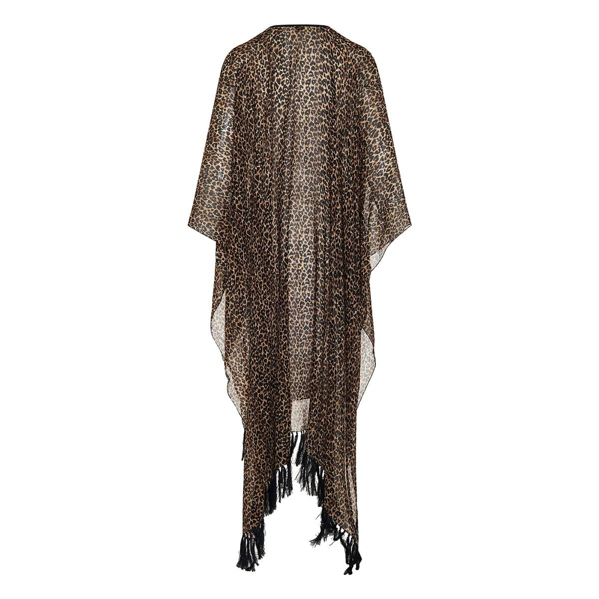 Fringed leopard wool poncho