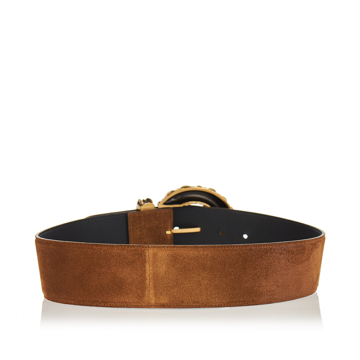 Jeweled-buckle wide suede belt