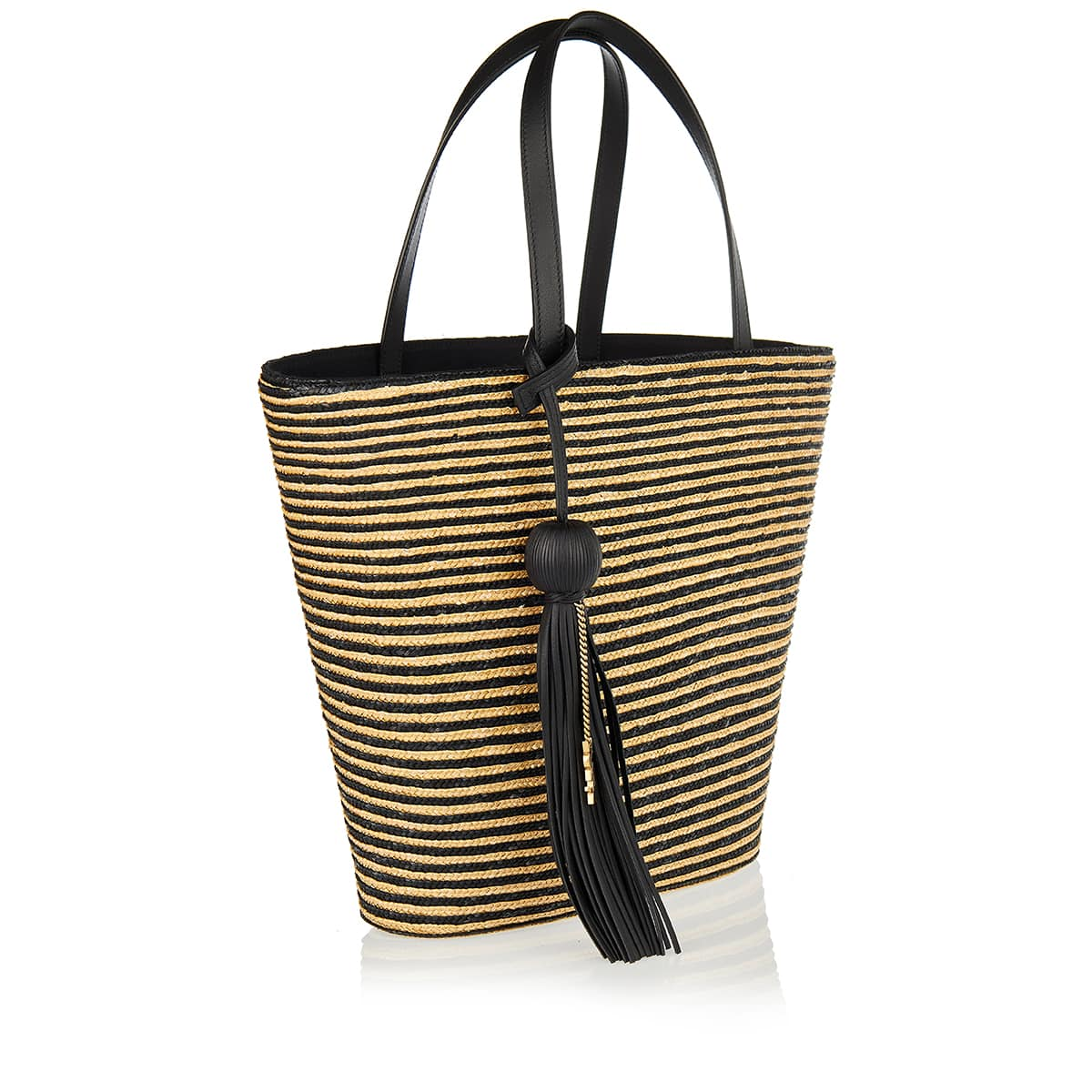 Striped straw basket bag