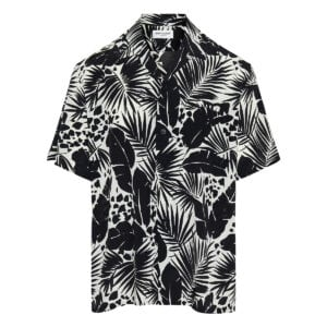 Leaf printed silk shirt