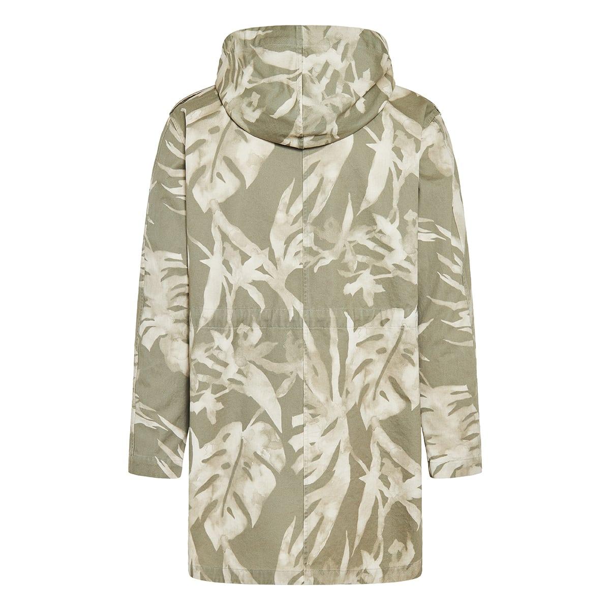 Leaf printed hooded parka
