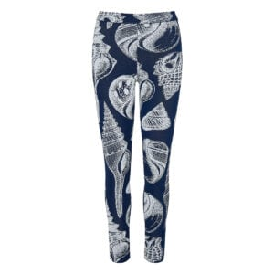 Shell-print jacquard leggings