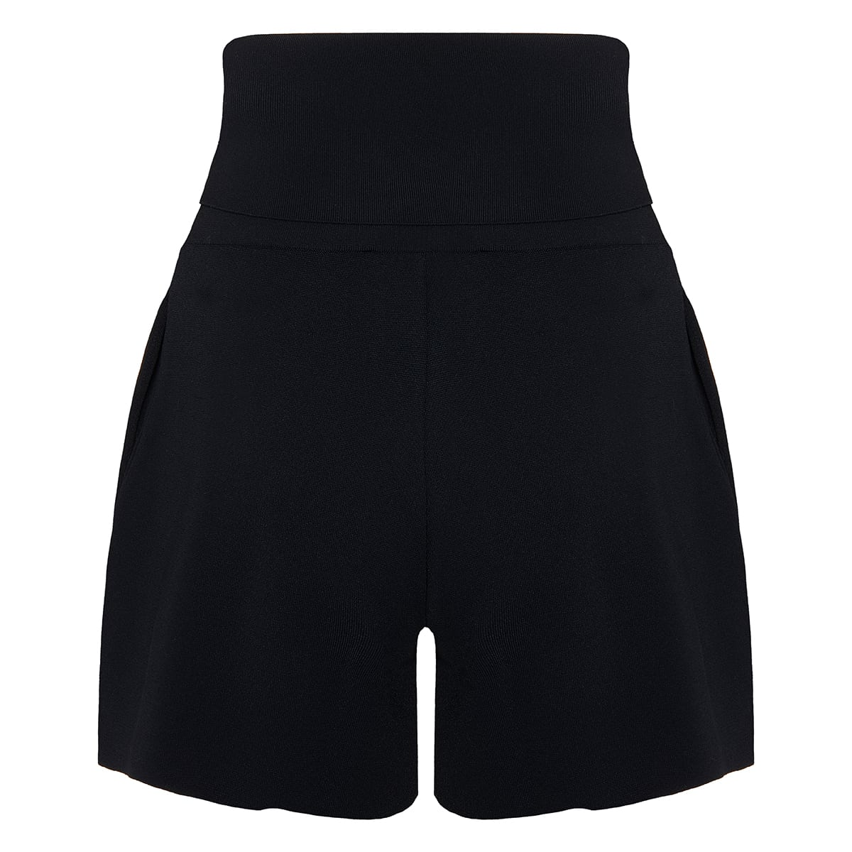 High-waist flared knitted shorts
