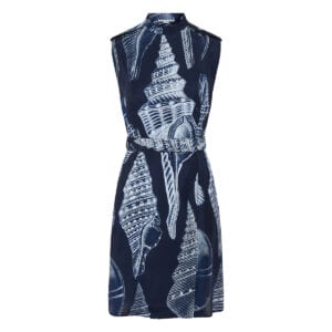 Shell printed wrap dress