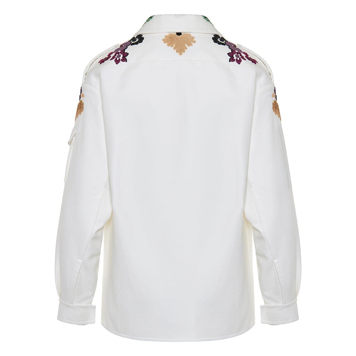Bead-embellished cotton pea coat