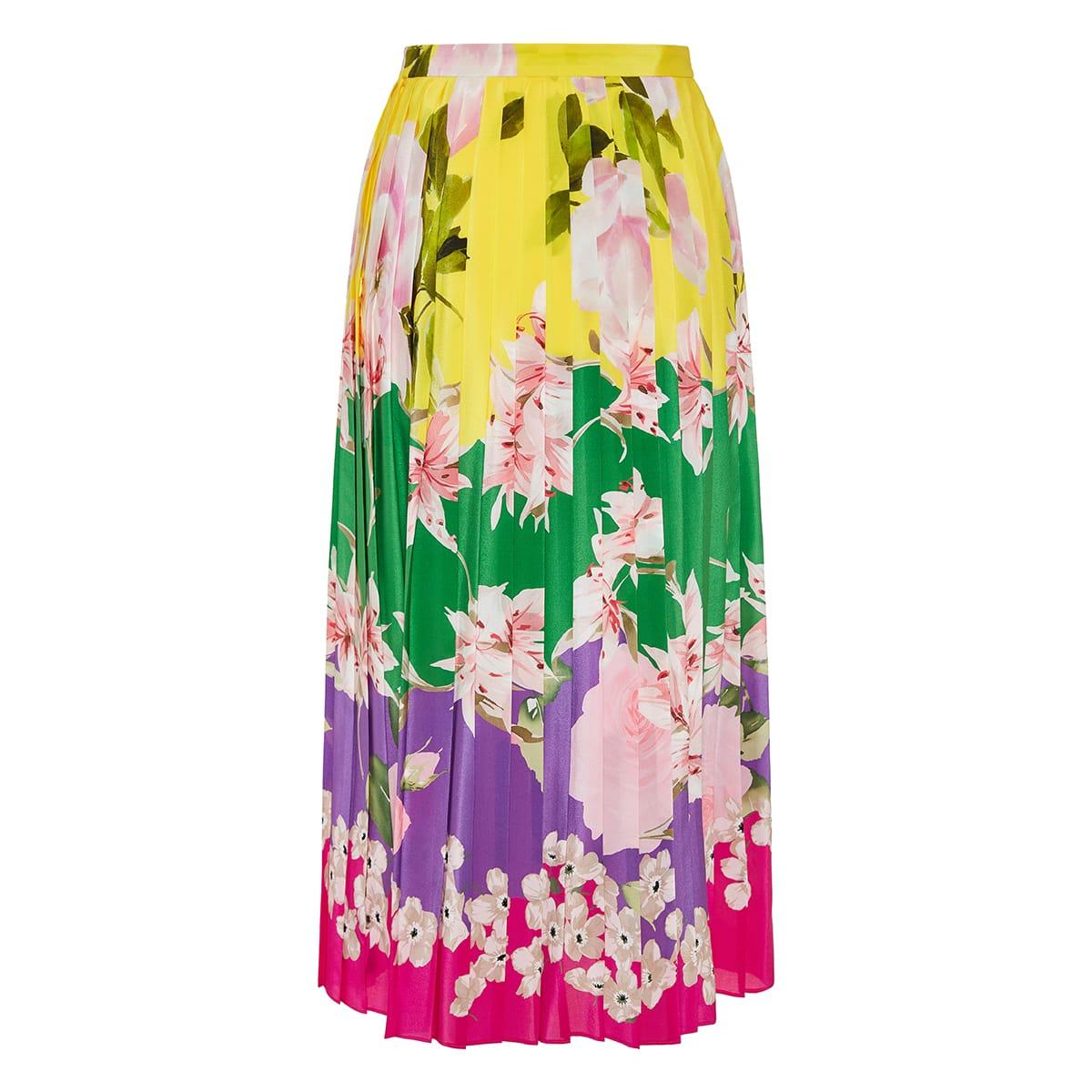 Floral pleated silk midi skirt