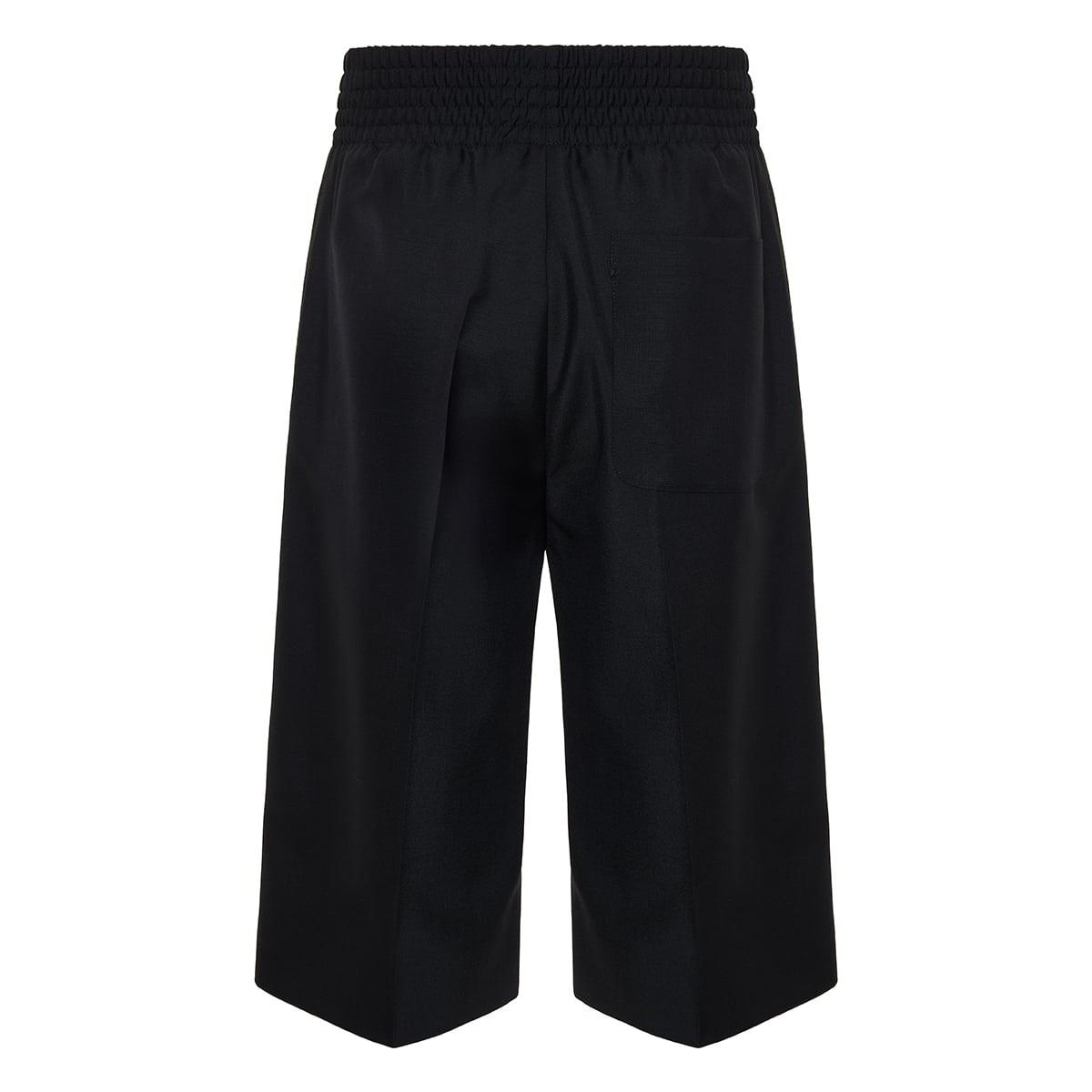 Logo patch long wool shorts