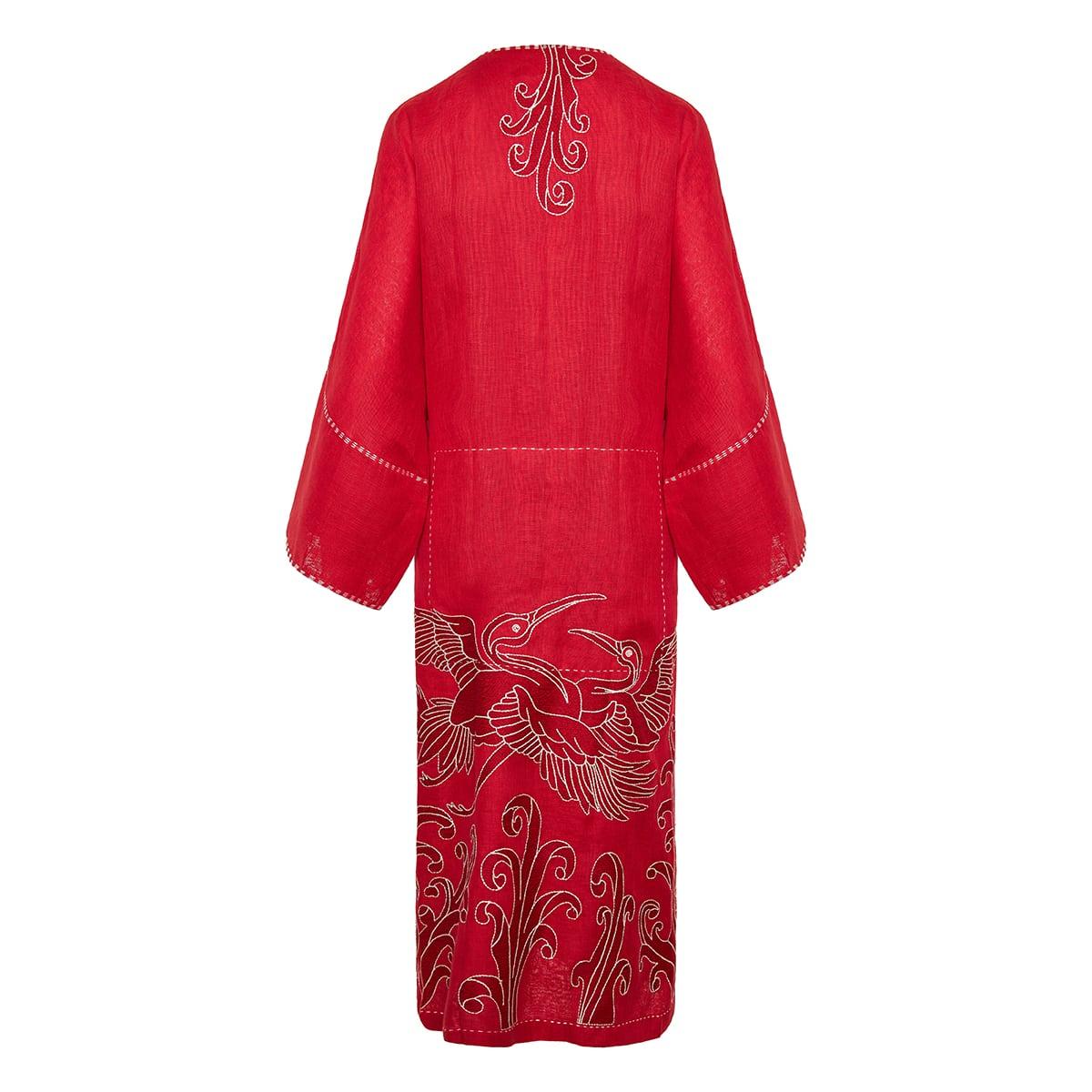 Dancing Heron embroidered linen wrap dress