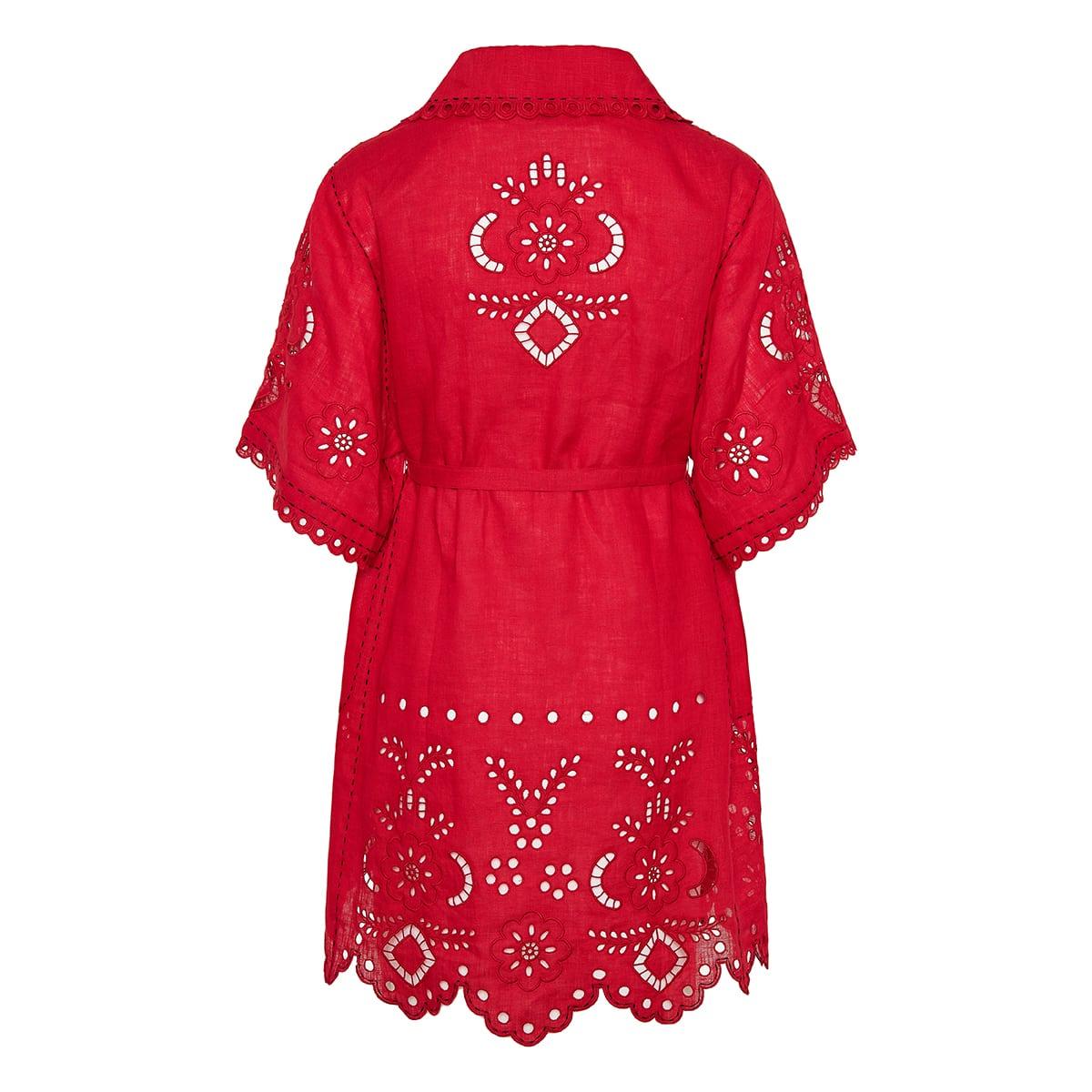 Charlotte broderie-anglaise short linen dress