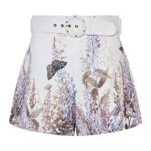 Luminous belted mini shorts