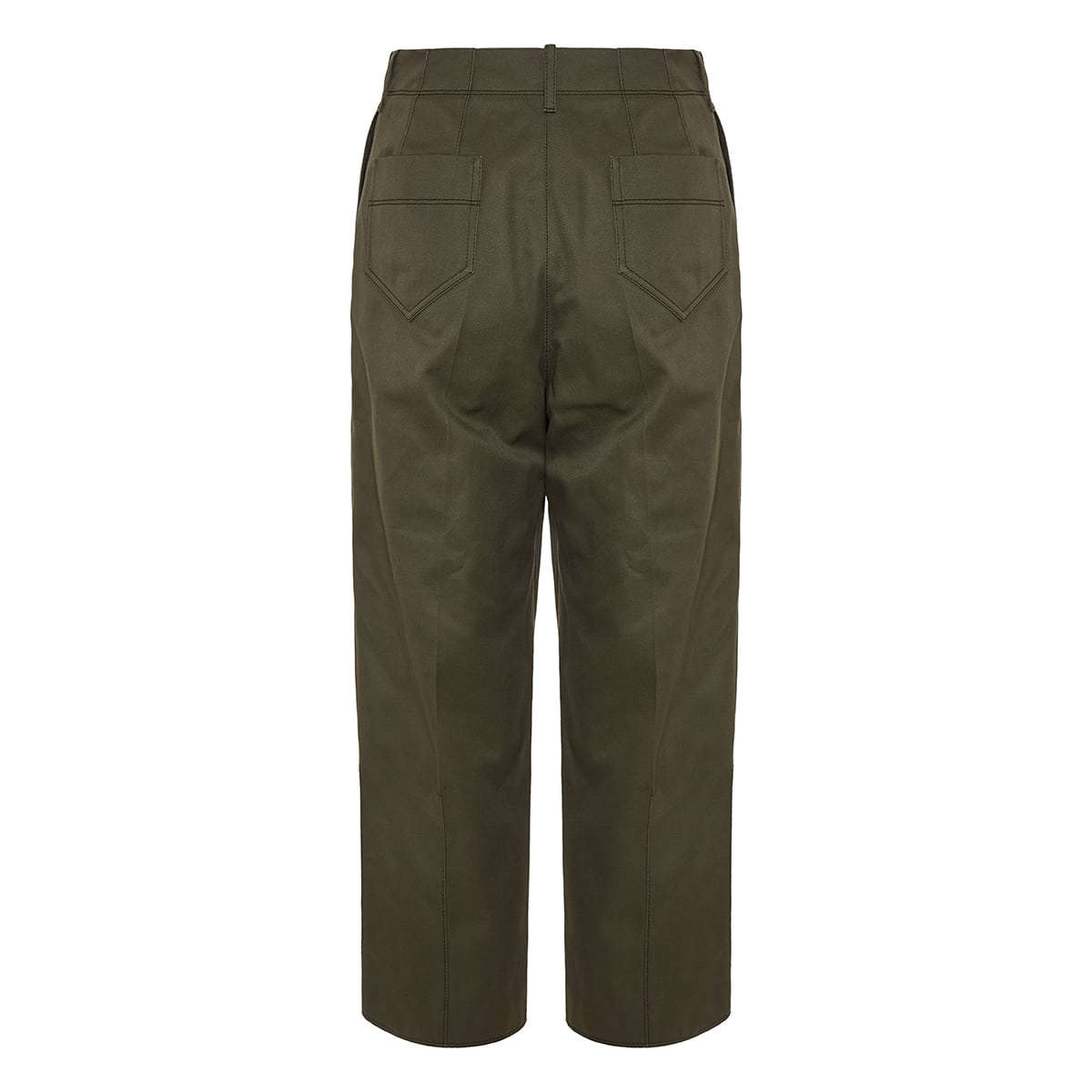 Pleated twill cropped trousers