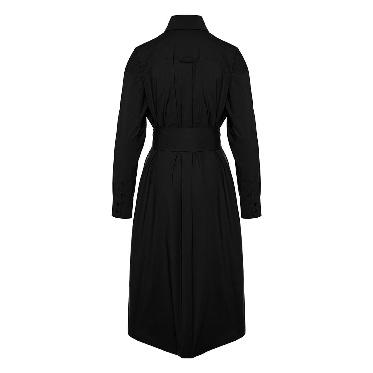 Belted cotton midi shirt dress