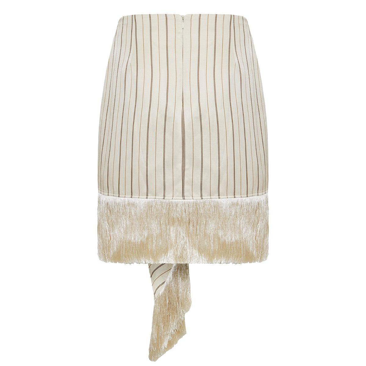 Evia striped fringed mini skirt