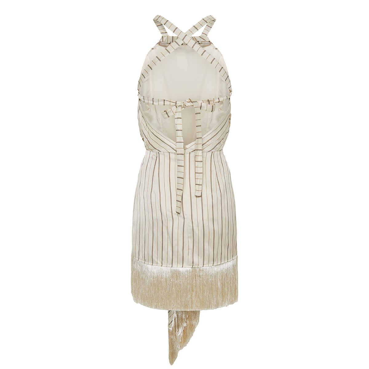Merina striped fringed mini dress