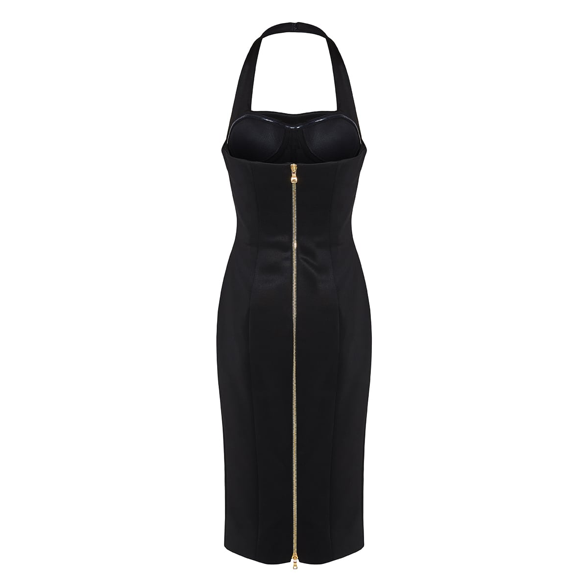 Open-back halterneck pencil dress