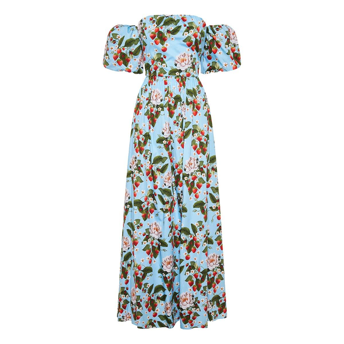 Juliet off-the-shoulder printed long dress