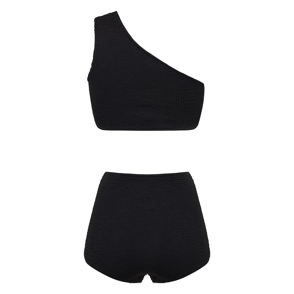 One-shoulder crinkle ribbed bikini