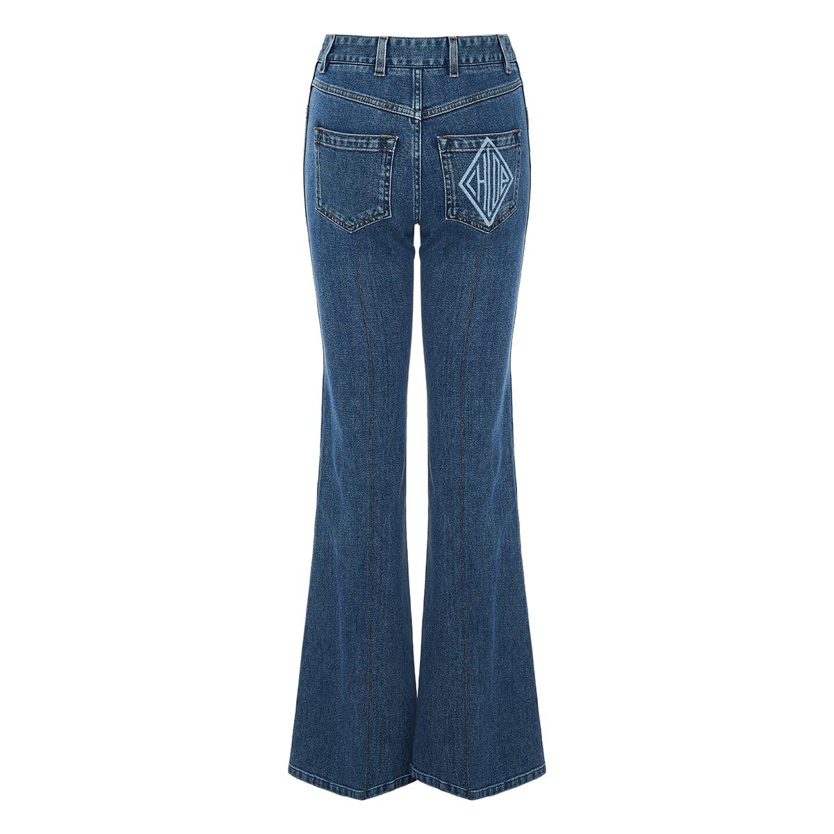 High-waist flared jeans