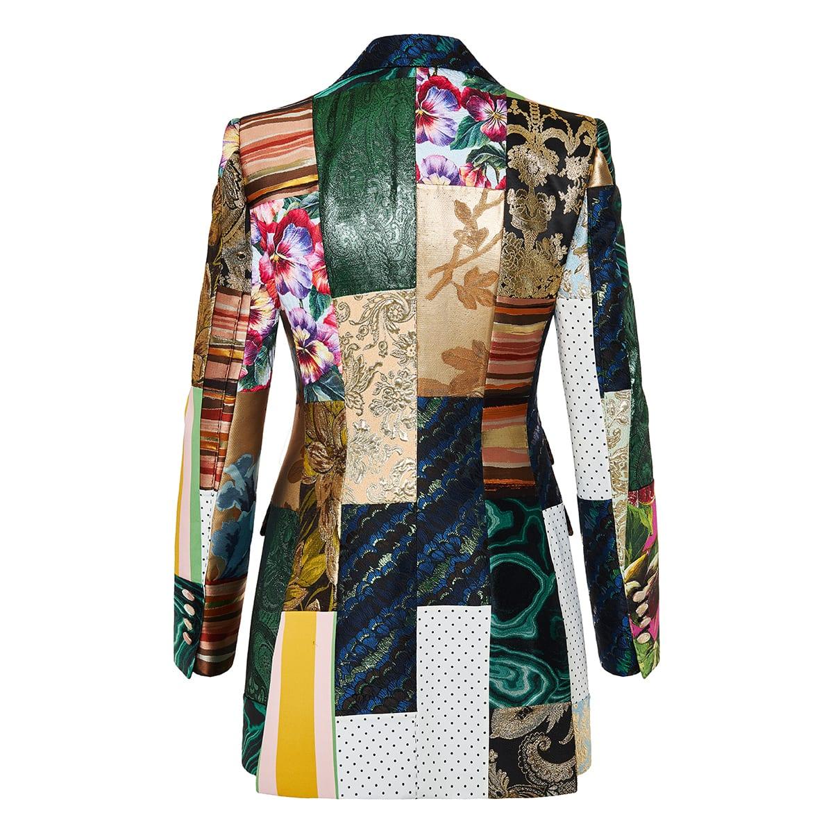 Single-breasted patchwork brocade blazer