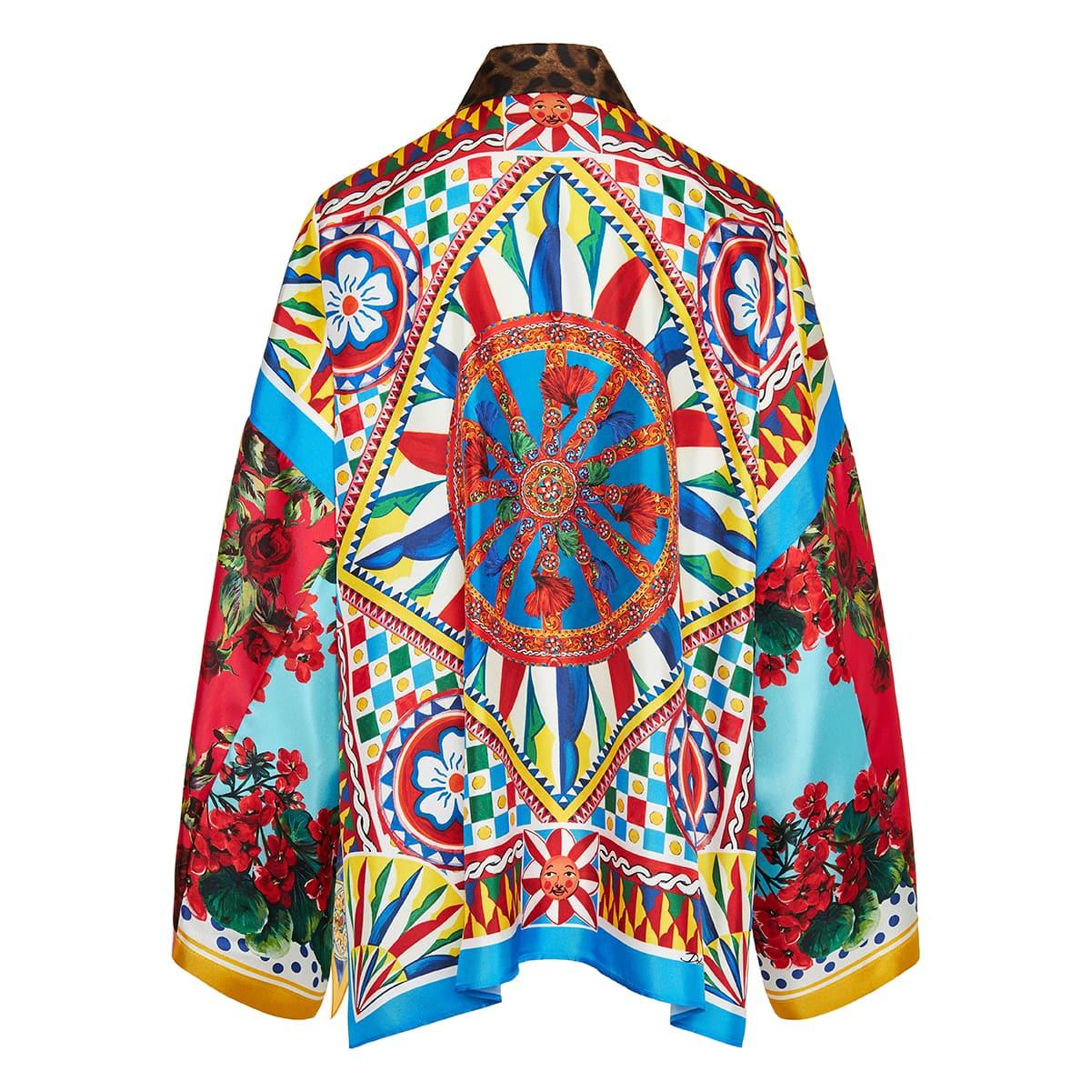 Patchwork-print oversized silk shirt