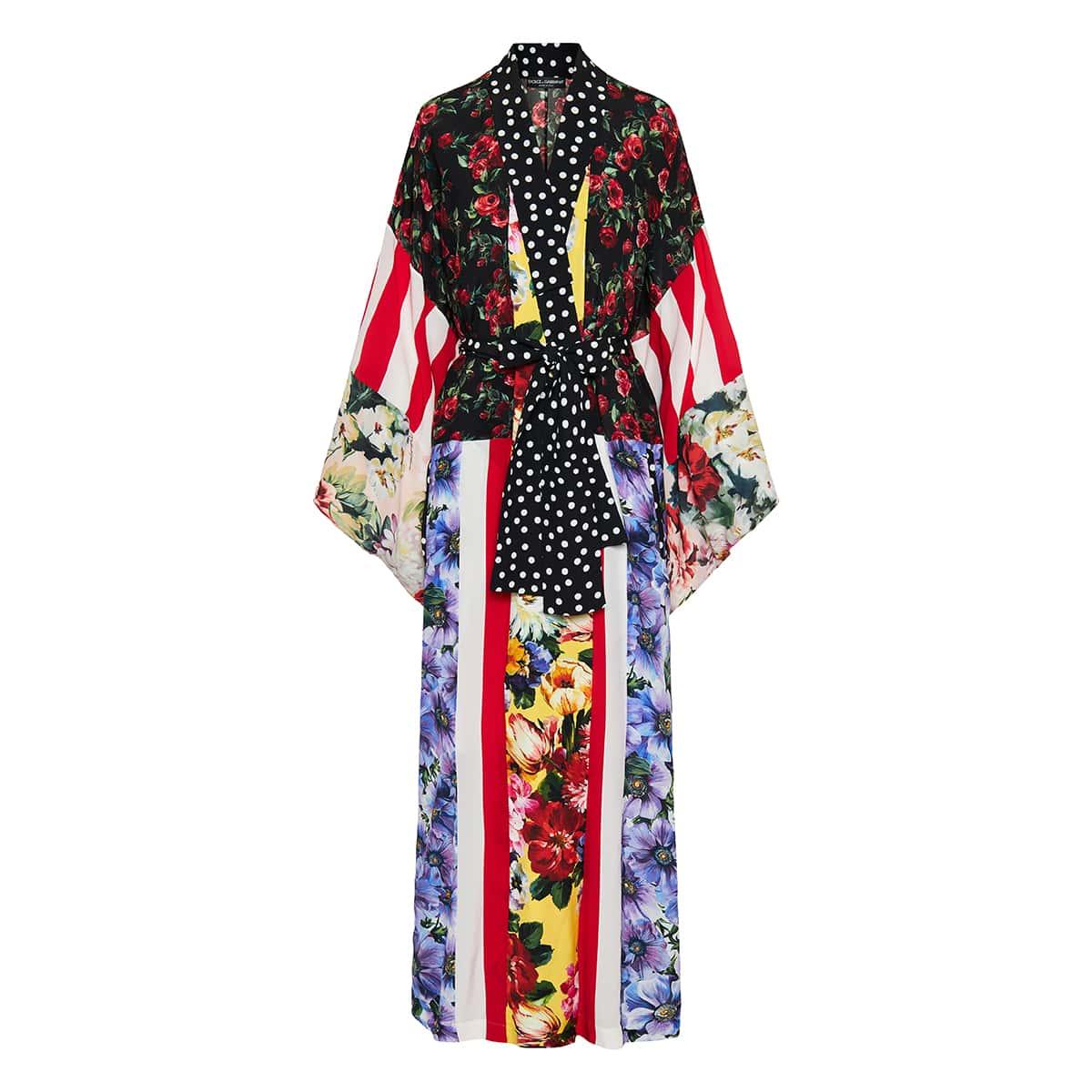 Patchwork-print long silk robe