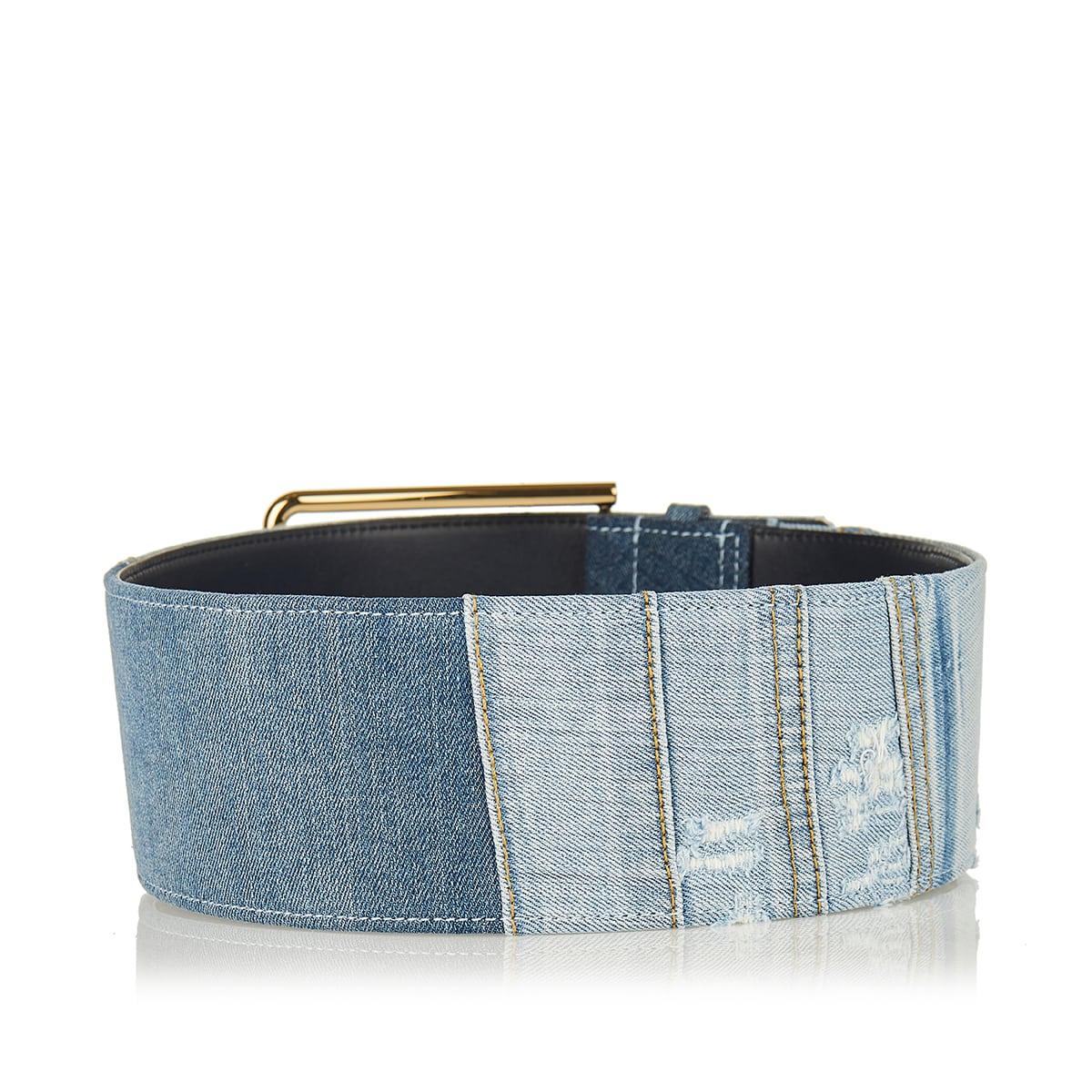 Patchwork denim wide belt