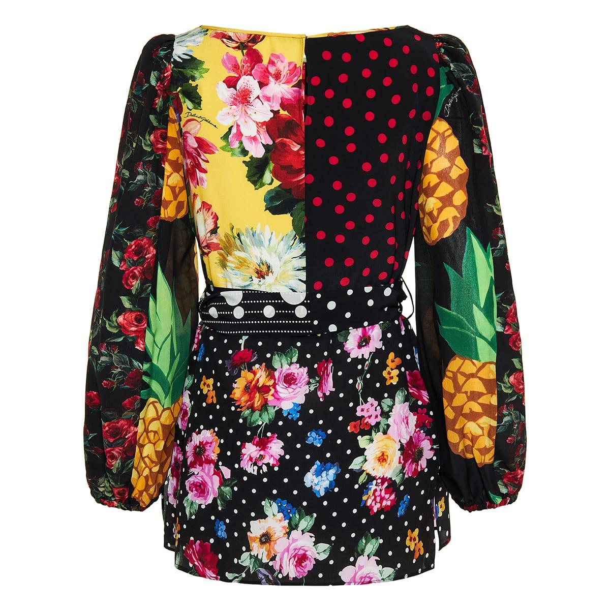 Patchwork-print silk crepe blouse