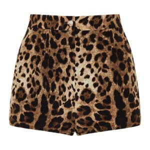 Leopard silk mini shorts