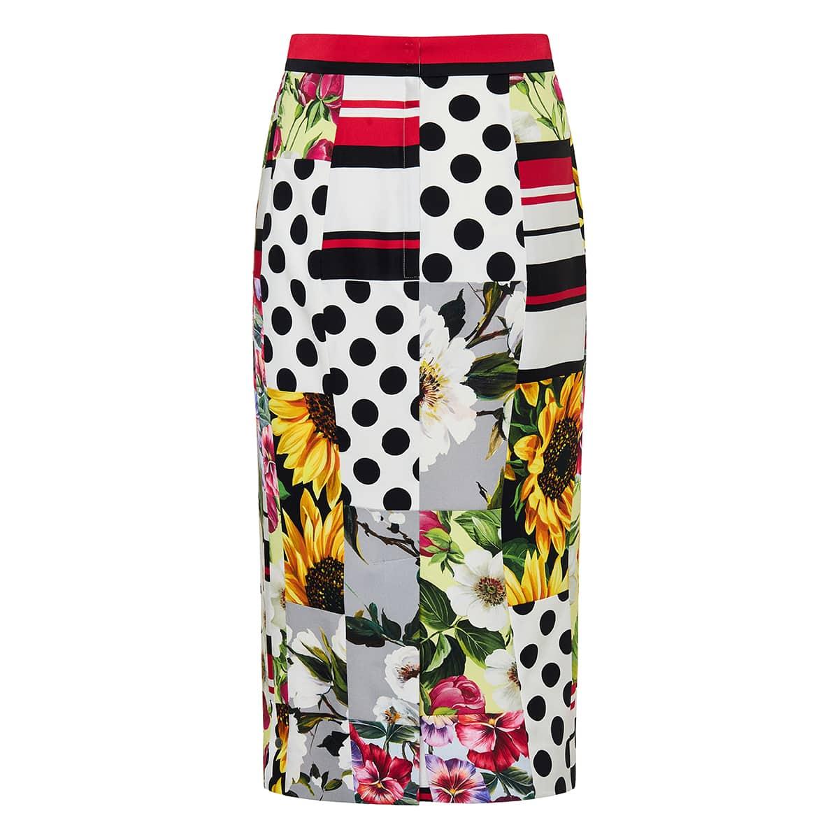 Patchwork-print pencil skirt