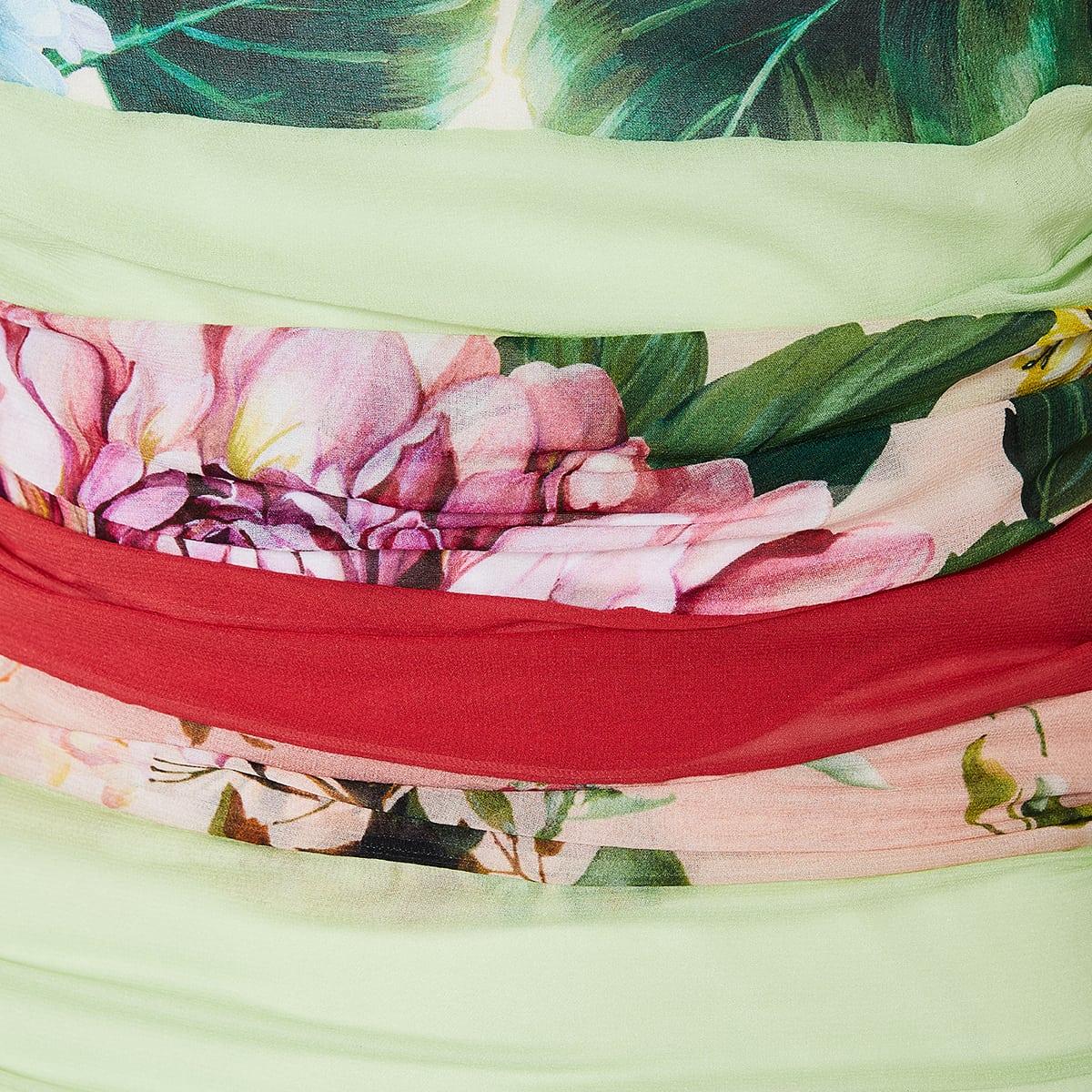 Patchwork-print ruched mini dress