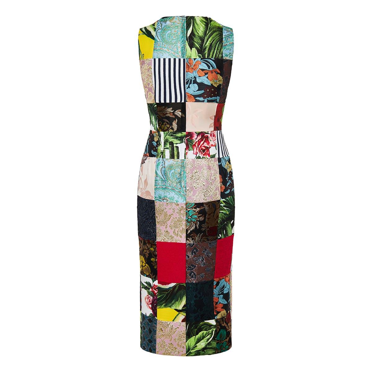 Patchwork brocade jacquard pencil dress