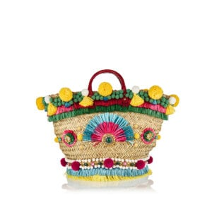 Coffa embellished straw basket bag