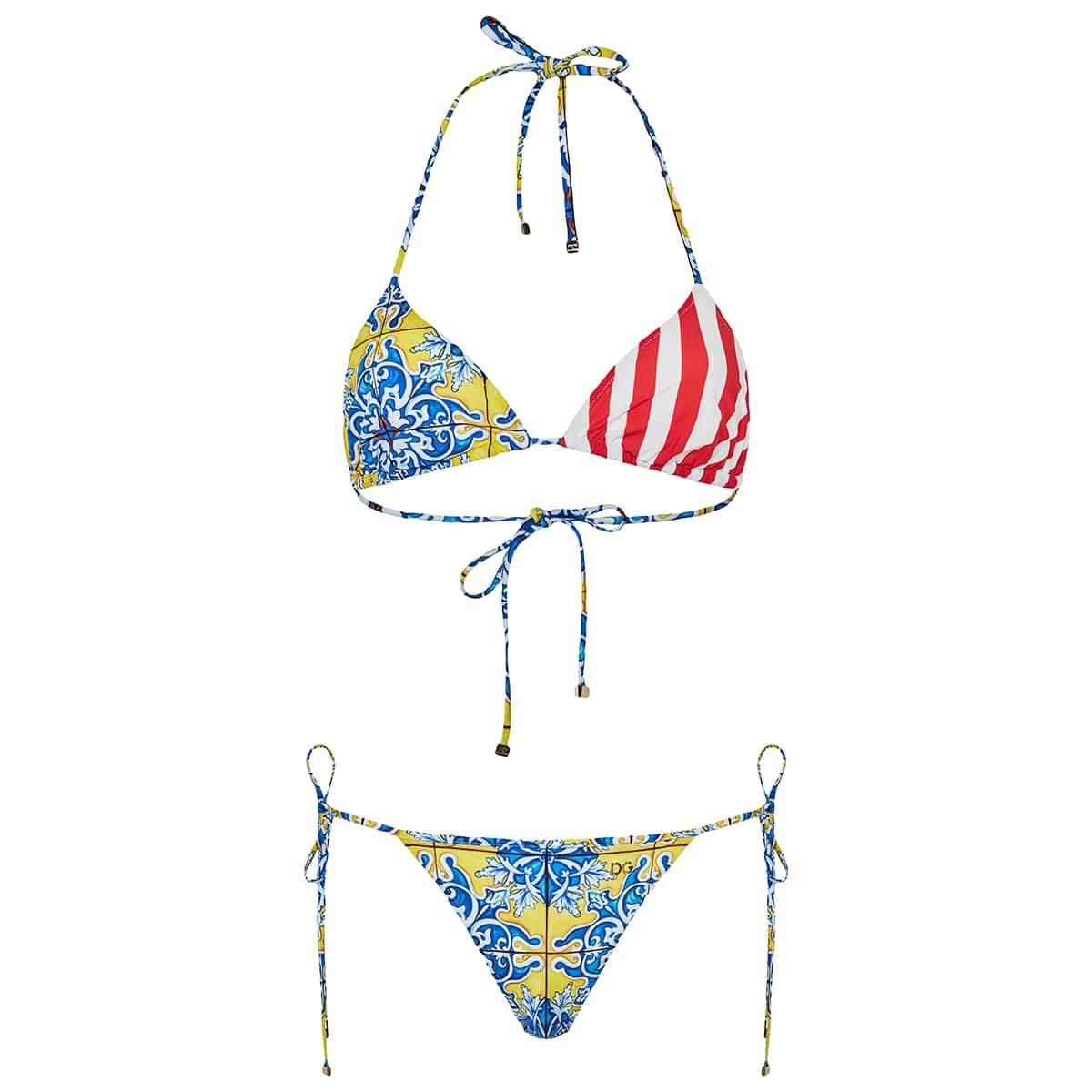 Patchwork-print triangle bikini