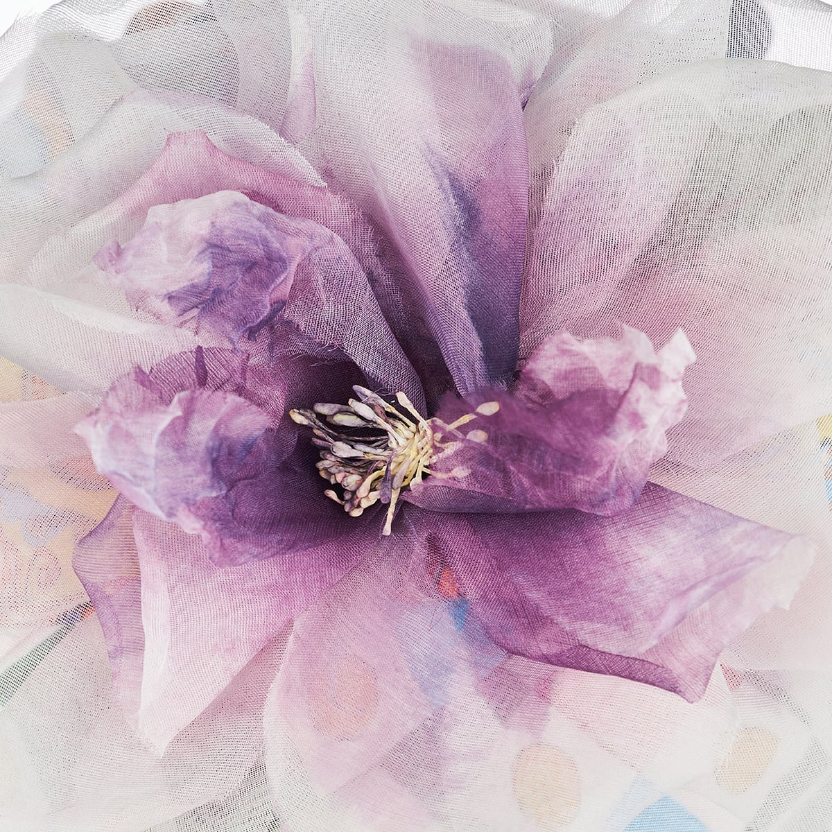 Flower-embellished printed silk turban