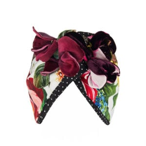 Flower-embellished patchwork-print turban