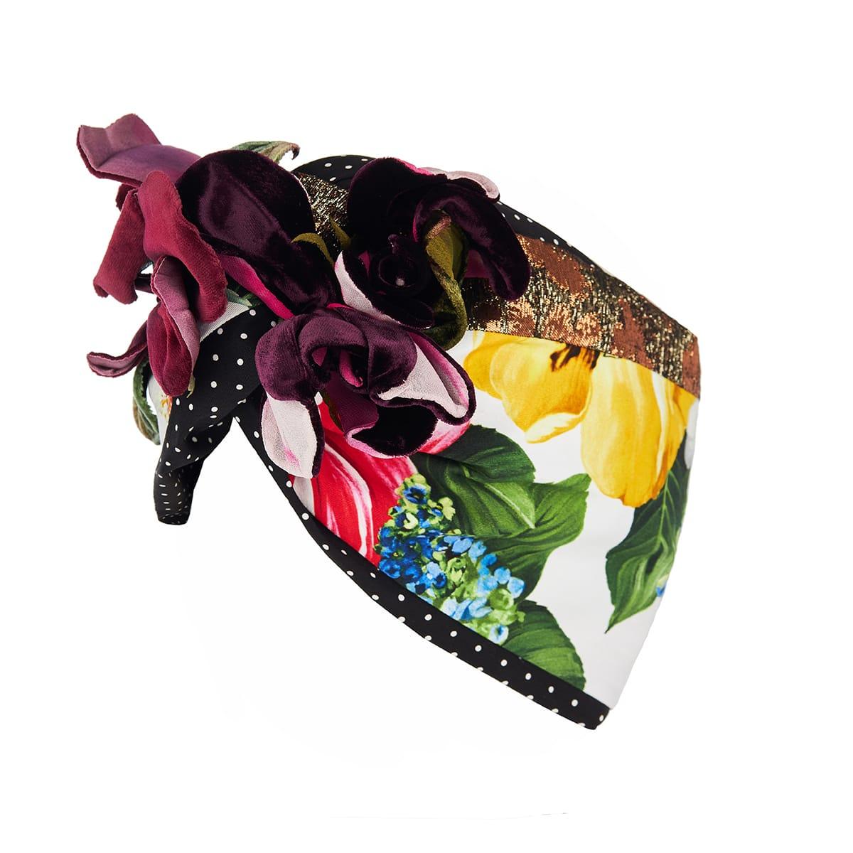 Flower-embellished patchwork-print turban