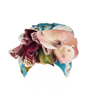 Flower-embellished printed silk turban
