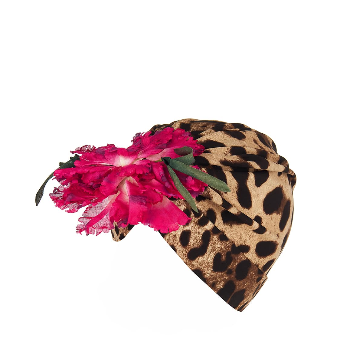 Flower-embellished leopard silk turban