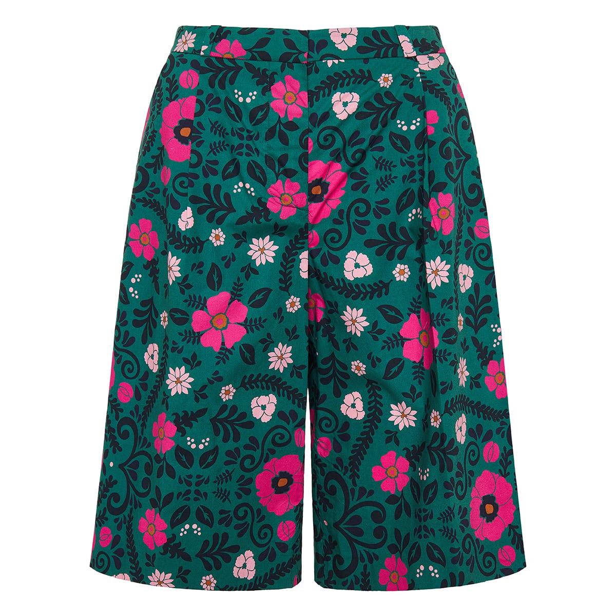 Bermuda floral poplin shorts