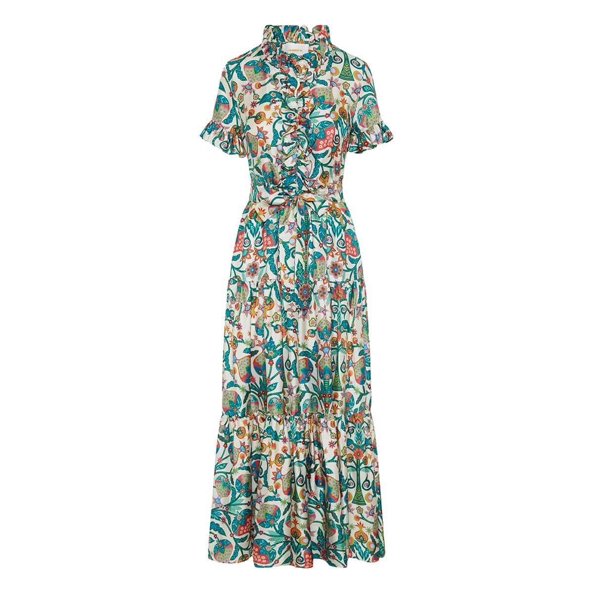 Long and Sassy printed silk dress