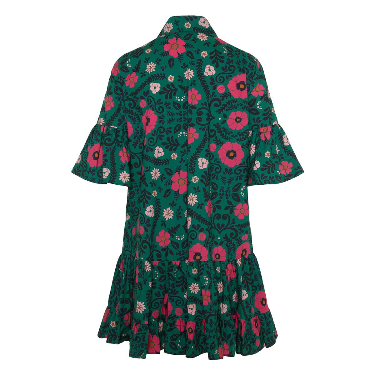 Choux short floral poplin dress