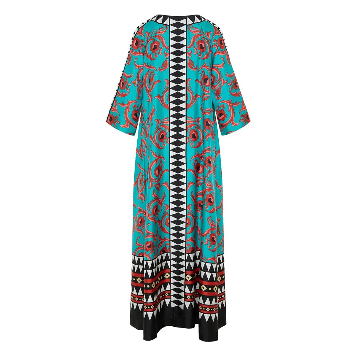 Muumuu printed long kaftan dress