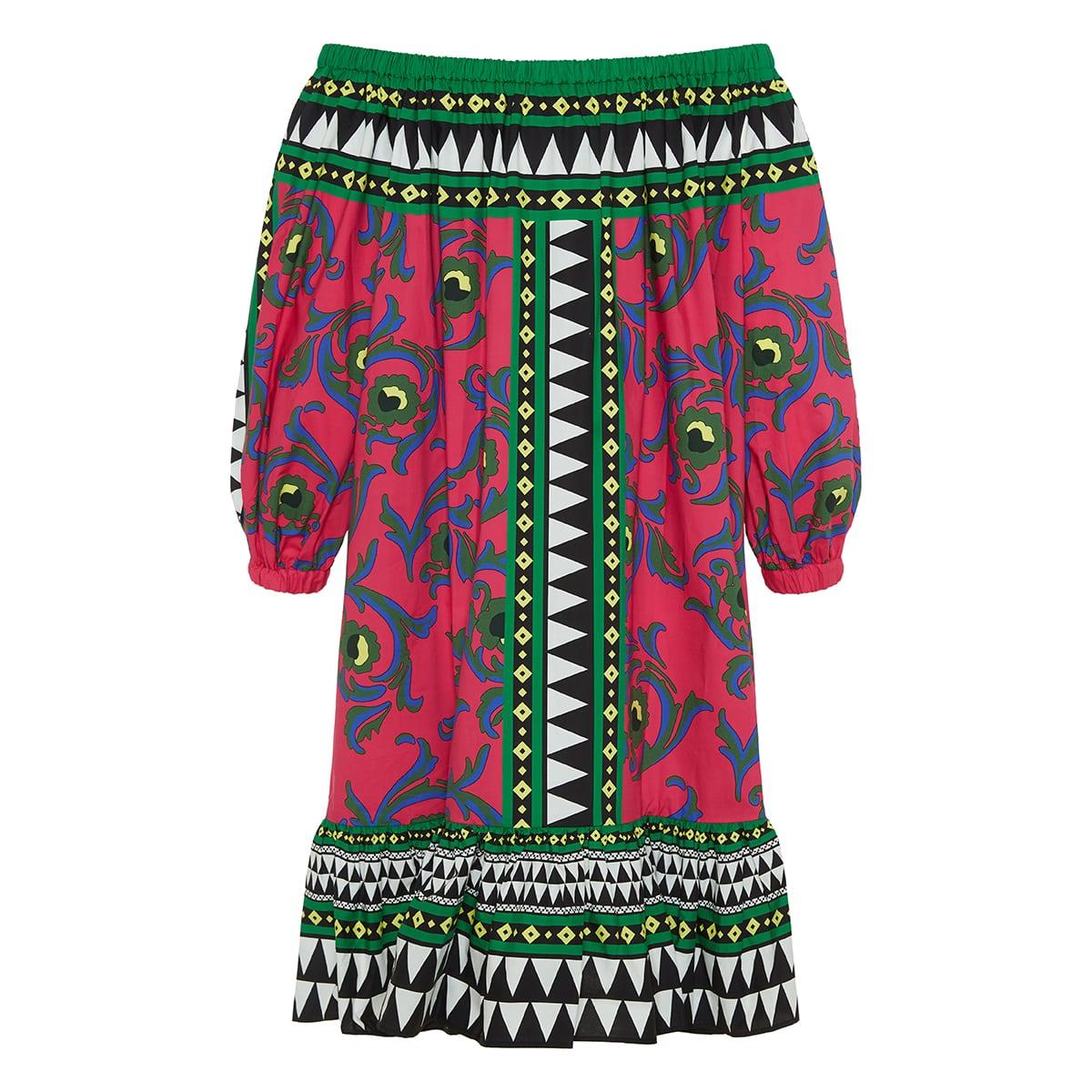 Paloma off-the-shoulder printed poplin dress