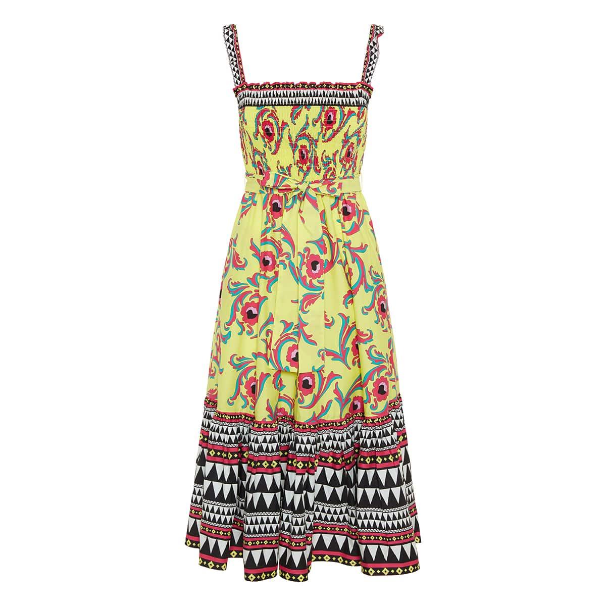Smock printed poplin midi dress