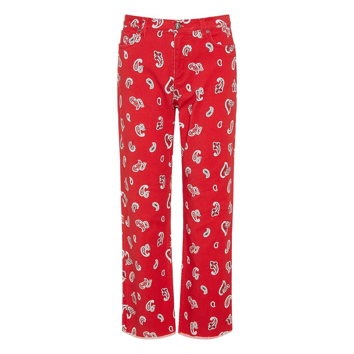 Paisley printed denim trousers