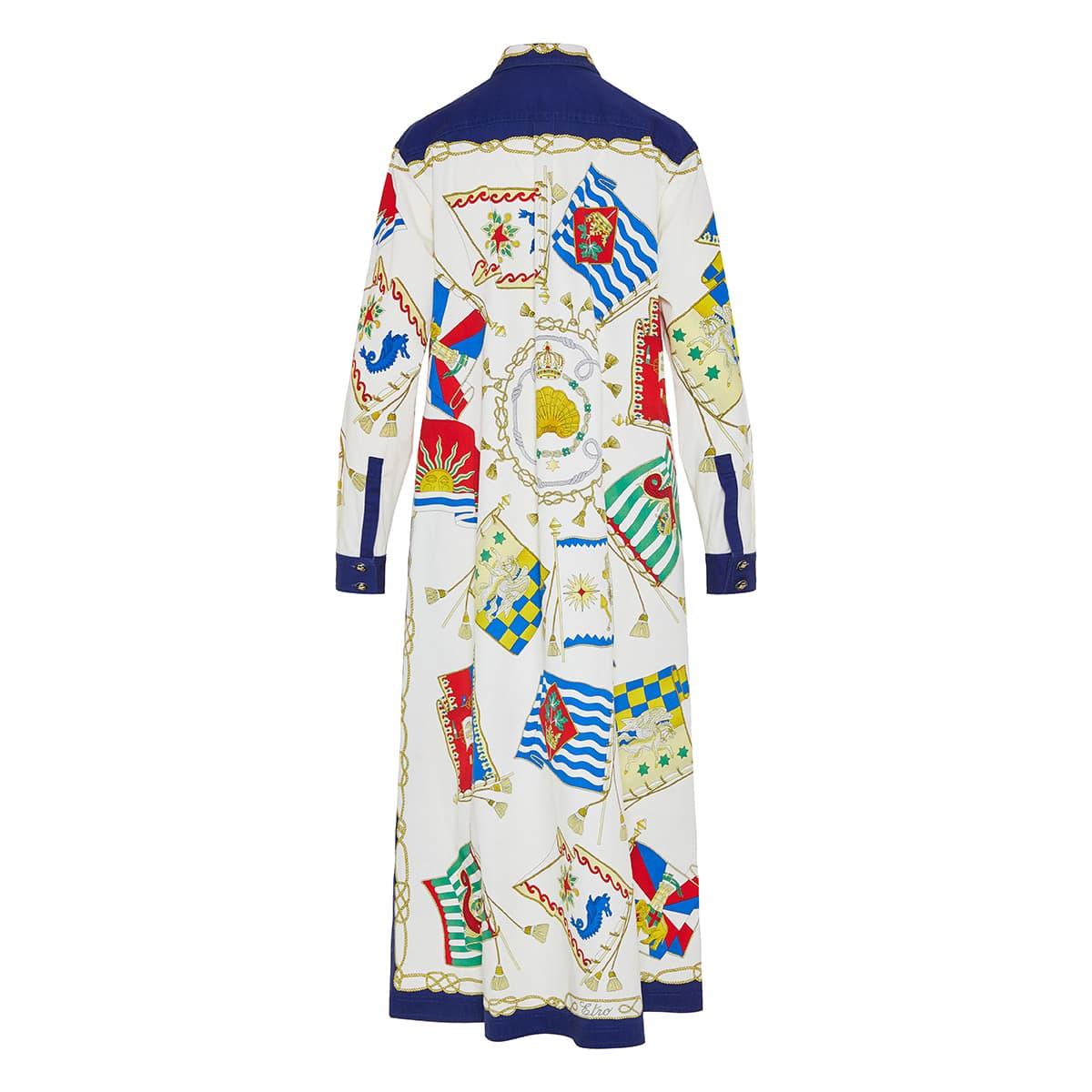 Printed denim shirt dress