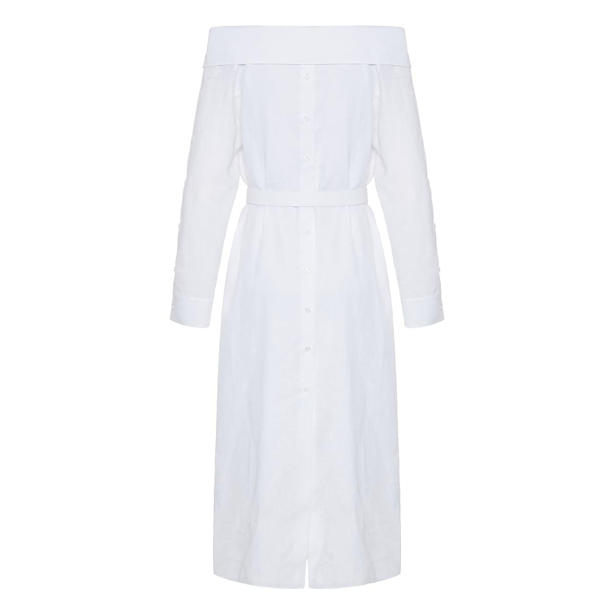 Linen midi shirt dress