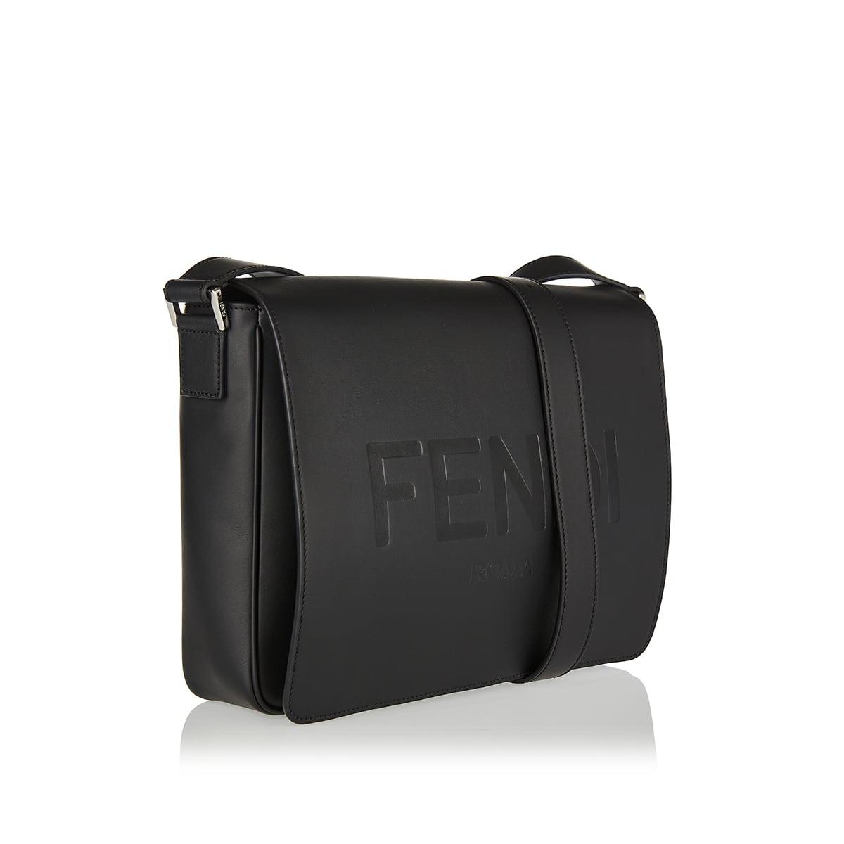 Logo leather messenger bag