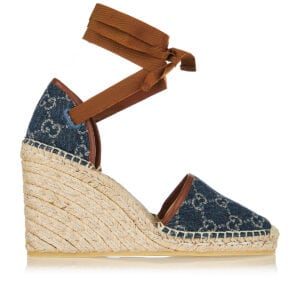 GG denim espadrille wedges