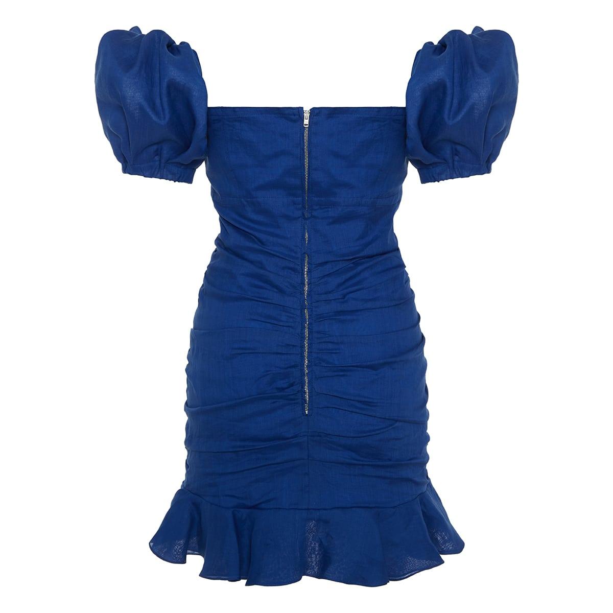 Jasmine off-the-shoulder ruched mini dress